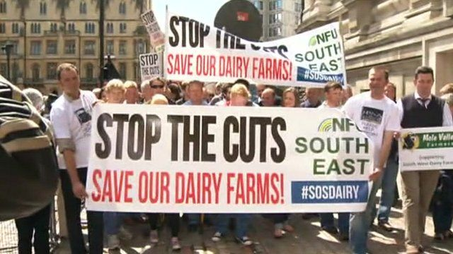 Dairy farmers protesting in London