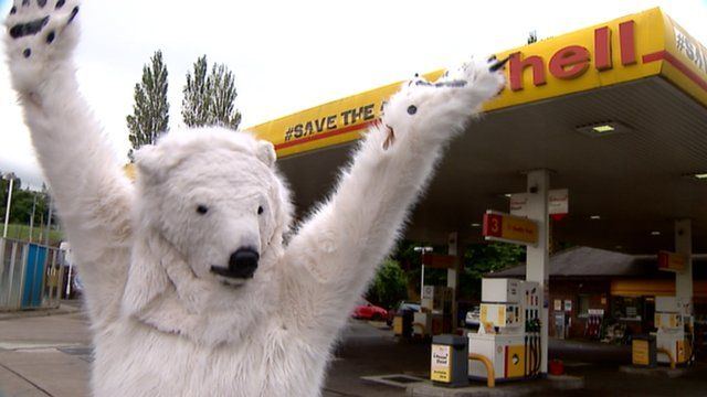 Protester at a Shell petrol station in Edinburgh