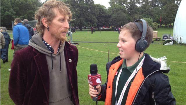 Circus trainer Ben Shambles speaks to School Report Samuel