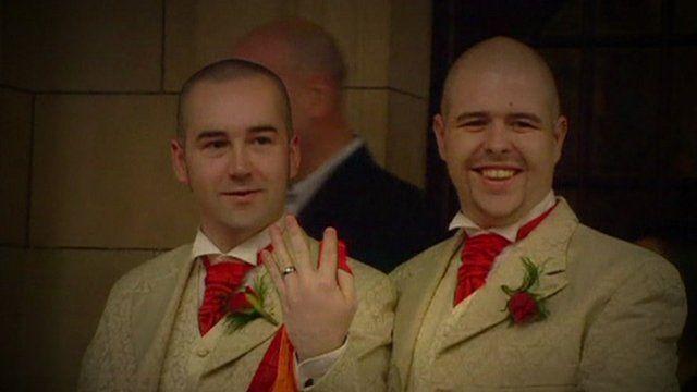 Two men at a civil partnership