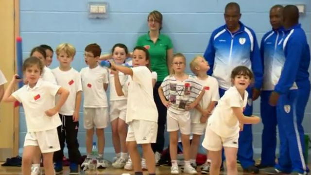 Members of the Lesotho Olympic team with schoolchildren in Wrexham