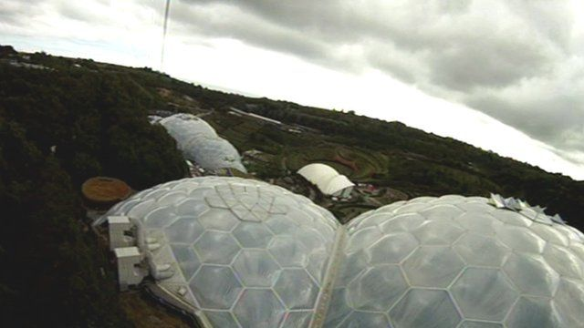 The Eden Project as seen from the zip wire