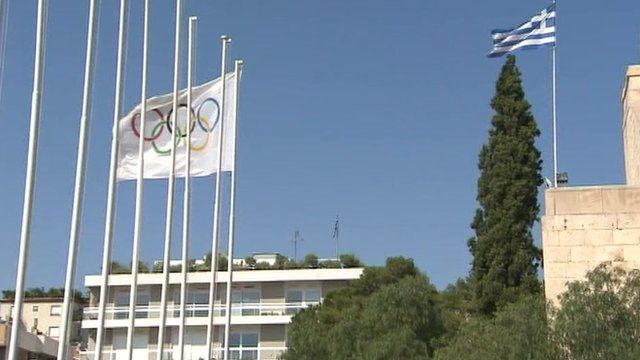 The Greek flag and the Olympic flag