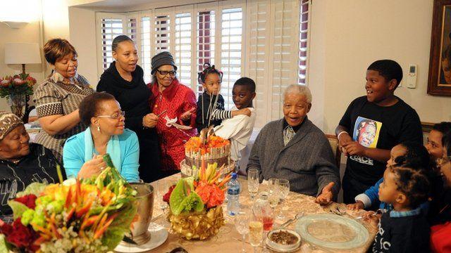 Nelson Mandela celebrates his birthday with family