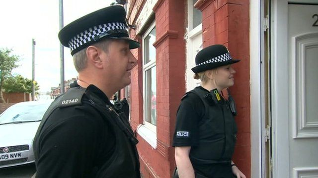 Police knocking at door