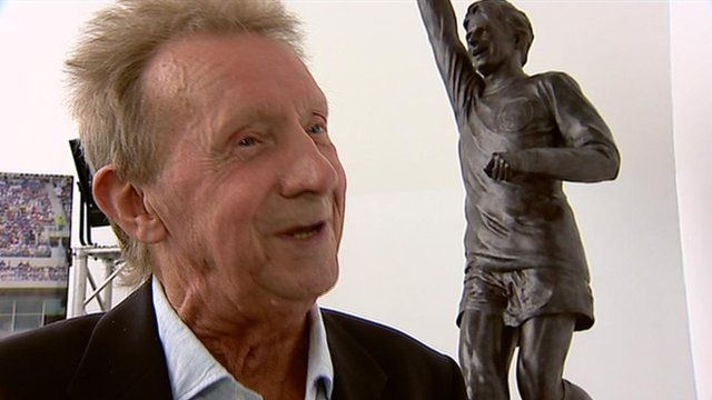 Denis Law with statue