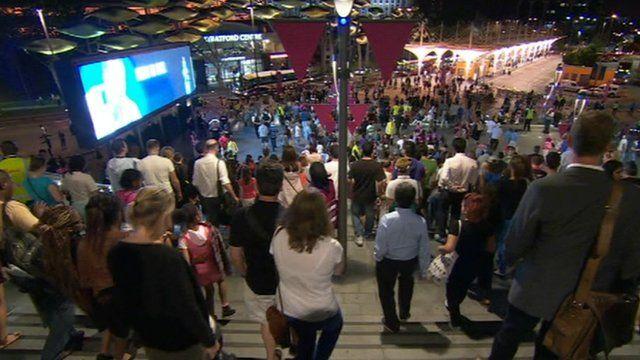 Crowds leave Olympic stadium