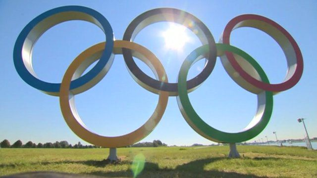 Olympic rings in the sunshine
