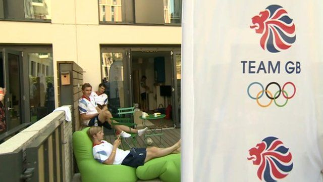 British athletes relaxing in their temporary accommodation