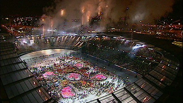 The Commonwealth Games opening ceremony in Manchester in 2002