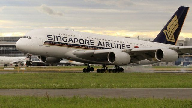 An Airbus A380 jet of Singapore Airlines lands at the airport in Zurich