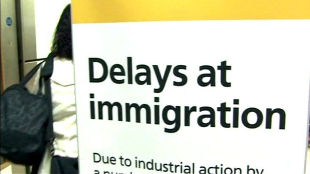 Delays at immigration sign