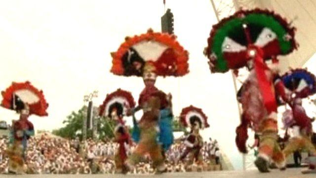 Mexican men performing a traditional dance