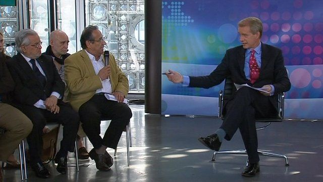 Dr Farouk Al-Mousareh of the NDCS and host Stephen Sackur