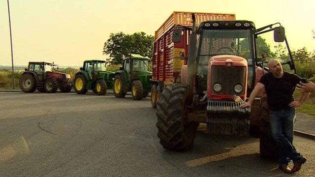 Tractors blocking dairy