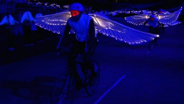 Winged cyclists at Olympic opening ceremony preview