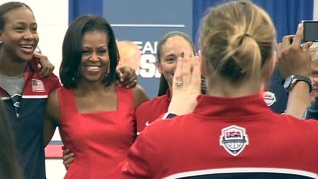 Michelle Obama with American athletes