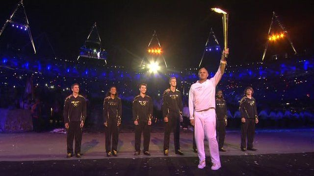 Sir Steve Redgrave with the seven young athletes selected to help light the Olympic cauldron