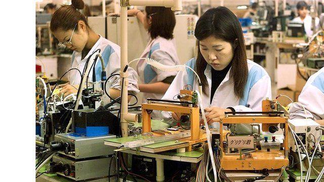 Factory workers in Japan