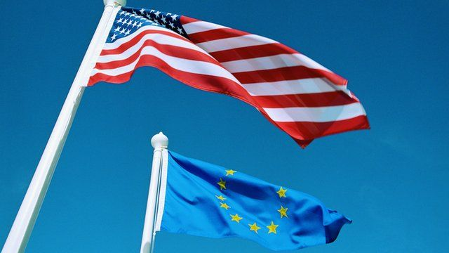 US and Europe flags
