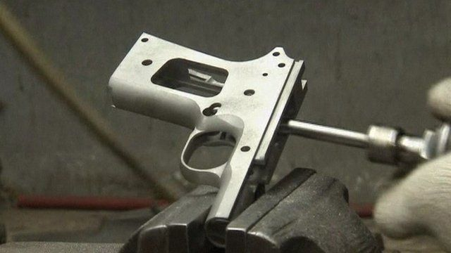 A pistol frame being worked on