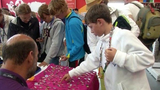 Olympic pin collectors in London
