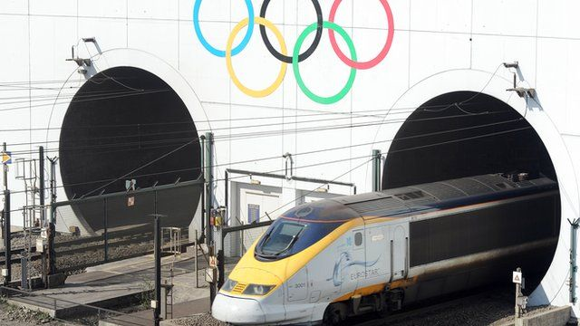Olympic Rings marking the London 2012 Olympics Games are painted on the entrance to the Channel Tunnel