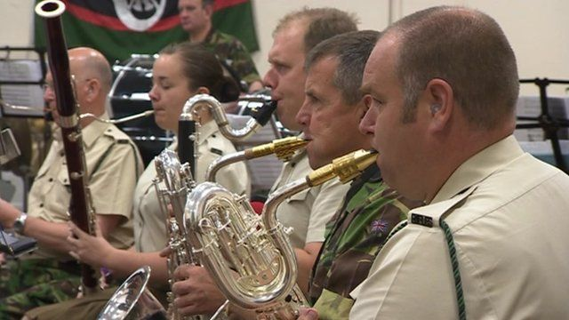 The military musicians at Winchester Barracks practice