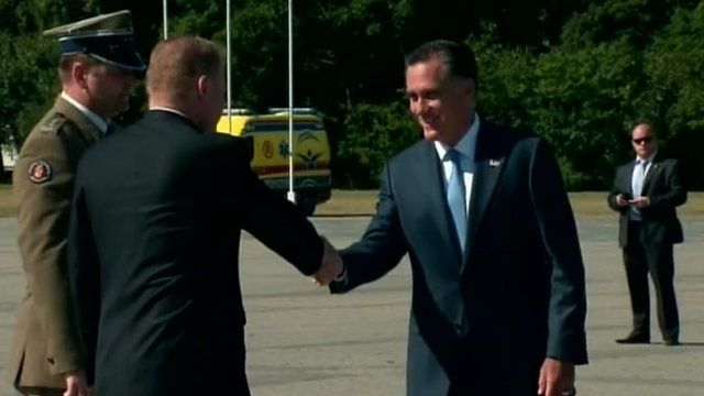 Mitt Romney outside the Tomb of the Unknown Soldier in Warsaw