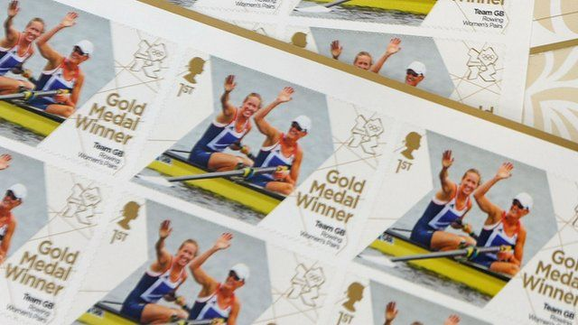 Royal Mail stamps featuring Heather Stanning and Helen Glover