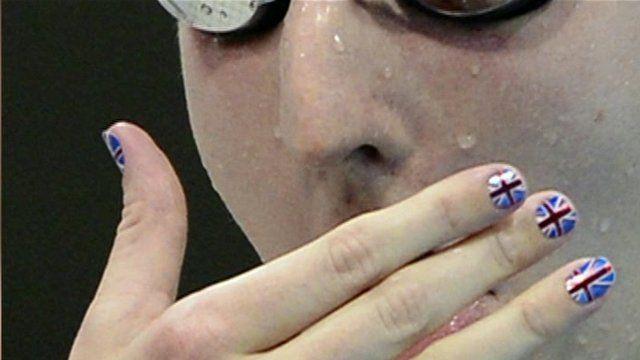 British swimmer with Union Flag nail varnish