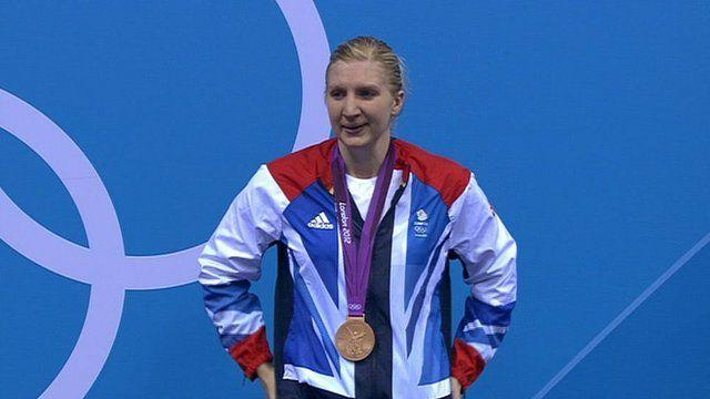 Rebecca Adlington picks up her bronze medal