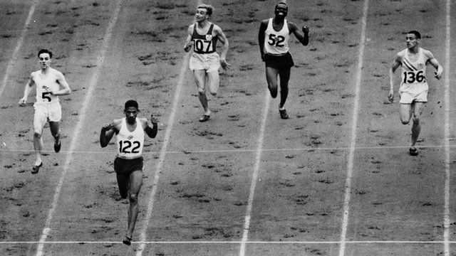 Arthur Wint (second left) wins his 400m semi-final at the 1948 London Olympics in Wembley. Wint went on to win the final.