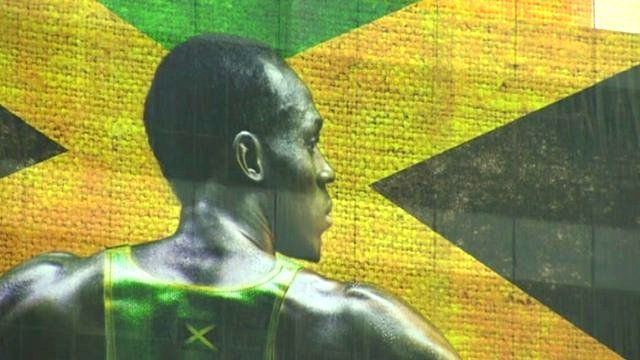 Picture of Usain Bolt on Jamaican flag