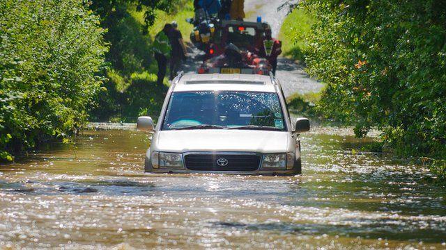 car on flood