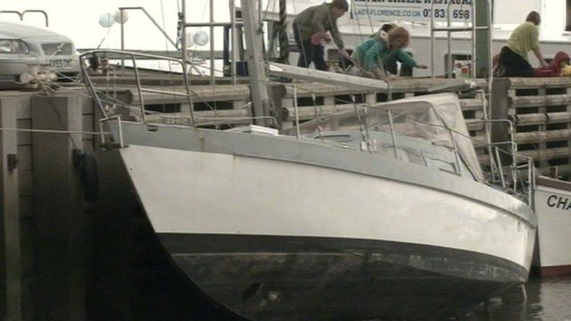 Abandoned unmarked yacht