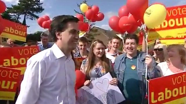 Labour leader Ed Miliband in Corby