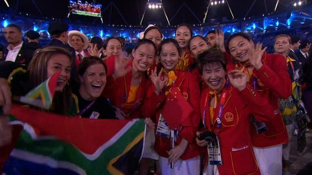 Female athletes at the opening ceremony