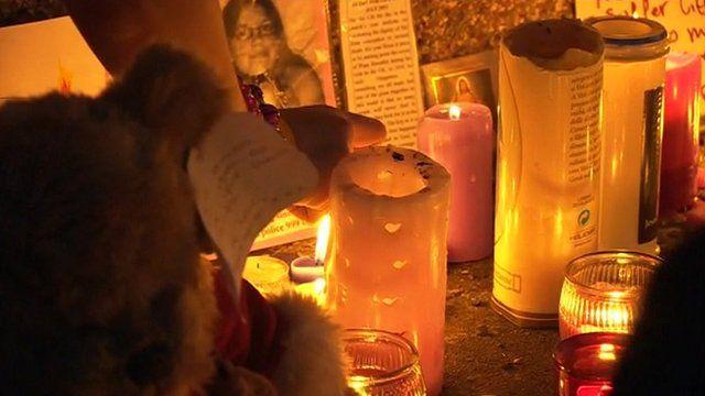 Candles at vigil for Tia Sharp