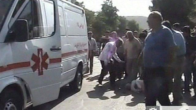 Ambulance attends quake victim
