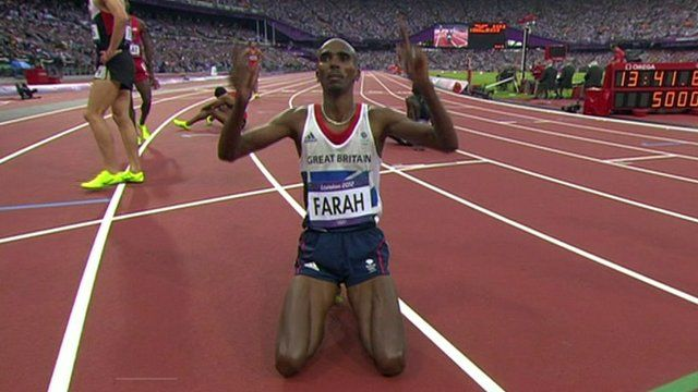 Mo Farah on his knees after his 5000m victory
