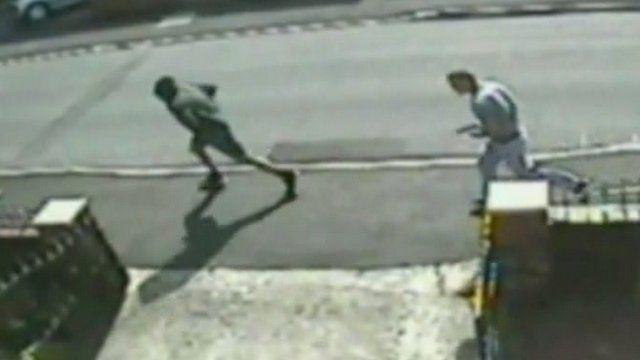 Running men on CCTV footage