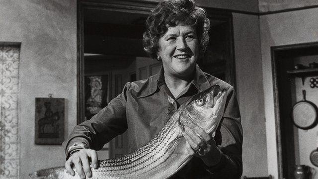 Julia Child holding a fish