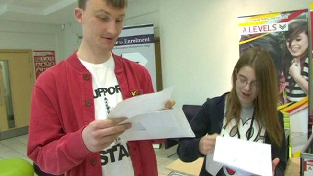Jacob and Marie open their A-level results in front of the cameras