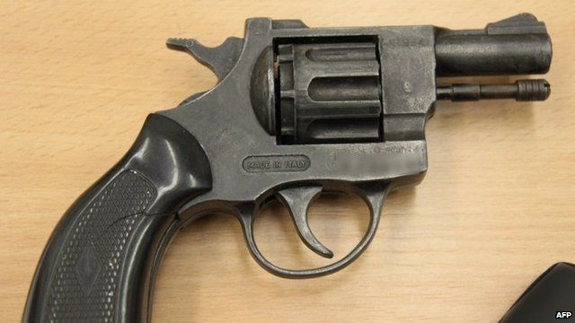 A revolver found at the apartment of the suspect in Ostrava. Photo: 18 August 2012