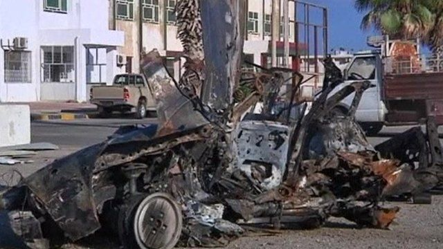 Aftermath of car bomb attack in Tripoli
