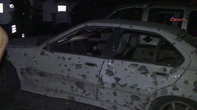 Car pockmarked after explosion in Gaziantep