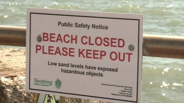 Beach closed sign