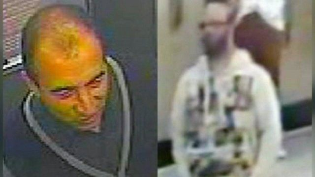 CCTV images of two men wanted in connection with the investigation