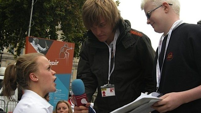 Charlie and David interviewing ParalympicsGB swimmer Ellie Simmonds